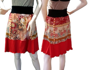 Knit T-Skirt (M), Eco-Friendly Tshirt Skirts, Repurposed T-Shirt Skirt, Upcycled Skirt