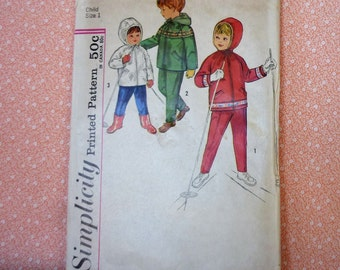Vintage Simplicity Sewing Pattern #4636, Toddlers Hooded Jacket and Pants, Size 1, UNCUT