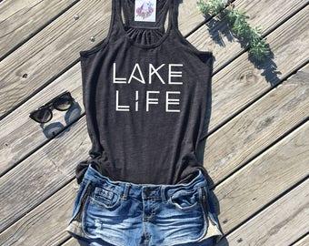 lake life flowy racerback tank top   summer tank top   womens clothing   womens tank top   summer tank top   womens shirt