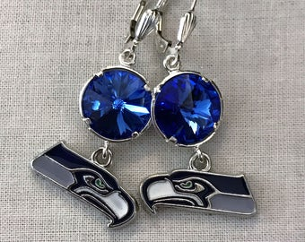 Seahawks Swarovski Dangle Earrings, Sapphire, Peridot or Green Sphinx Crystals with Seahawks Charms, Sterling Silver Lever Backs