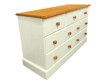 Handmade Farrow and Ball Solid Redwood Pine 7 Drawer Chest
