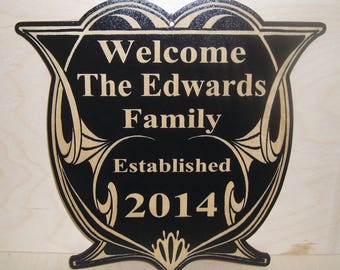 Personalized-Family-Last-Name-Sign-Couple Wedding Gift Engraved Wood Plaque