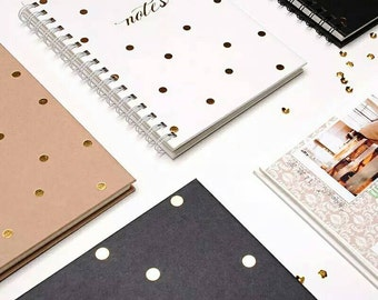 SALE! Gold Polka Dots Hardbound Notebooks in choice of 3 colors- Kraft, Black or White