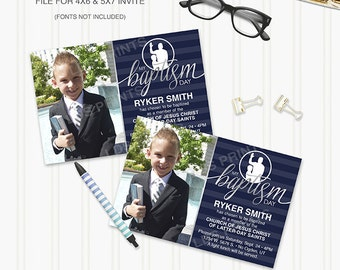 PBEI004 - Editable LDS Baptism Invitation 8 year old photoshop template Boy Great to be 8 psd file photoshop