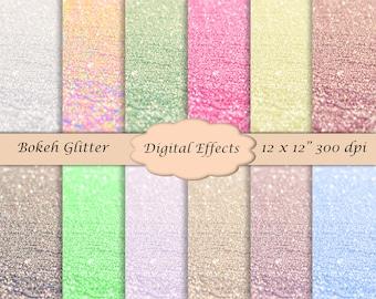 "Bokeh Glitter Digital Paper Pack, Texture Digital Paper, 12x12""  Scrapbook Paper, Pastel Digital Paper, Bokeh Overlay, Glitter Overlay,CU OK"