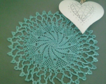Set of two turquoise lurex crochet doily lace