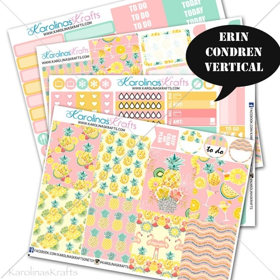 Tropical Summer kit, Pineapple Planner Kit 200+ summer Planner Stickers, for Erin Condren Sticker, Pineapple Stickers #SQ00607-ECV
