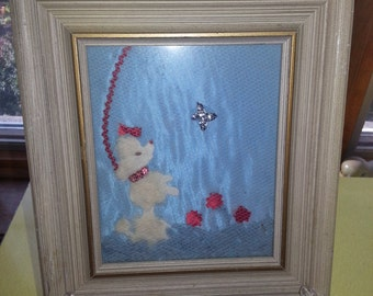 Vintage 1950s Hand Applied Mesh and Felt Poodle in Wooden Frame