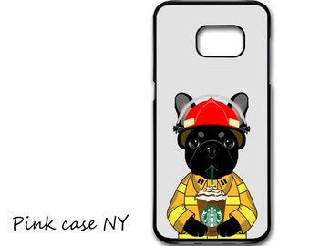 Galaxy S8/ S8 Plus/ S7/ S6/ S5/ S4, Galaxy S7 Edge, Galaxy Note 7/ 6/ 5/ 4/ 3 - I love starbucks - French Bulldog - Firefighter Costume