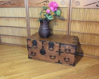 Antique Japanese Tansu Cabinet / Merchant Chest Of Drawers / Keyaki Wood Tansu