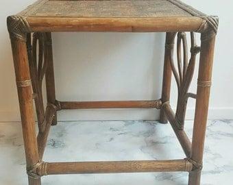 Vintage table - rattan table - rotin table - 70s table - side table - small table - bedside table - bungalow style - beach house style