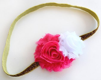 Pink and Gold First Birthday, First Birthday Headband, Pink and Gold Headband, Baby Girl Headband, Hot Pink Headband, Baby Headband,Toddler