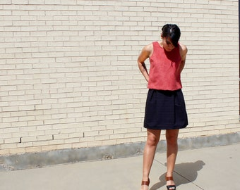 Coral Faux Suede Bow Tank
