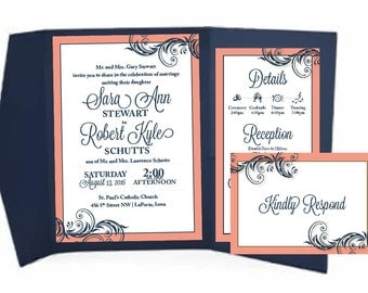 Navy Coral Wedding Invitation Pocketfold Suite Elegant Coral Wedding  Invitation Rsvp Card And Details Card Navy