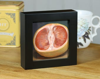 "Grapefruit, Original Food Painting, 4""x4"" Framed Oil Still Life"