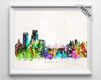 Dhaka Skyline Print, Bangladesh Poster, Dhaka Wall Art, Cityscape, Watercolor Painting, Giclee Art, Home Decor, Christmas Gift