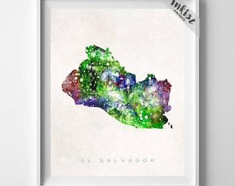 El Salvador Map Print, San Salvador Print, El Salvador Poster, Home Wall Art, Map Art, Travel Poster, Home Decor, Dorm Decor