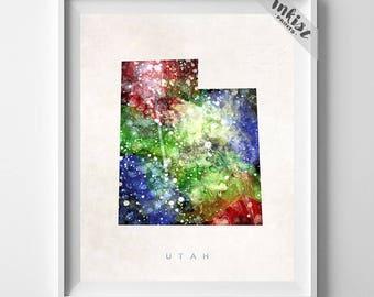 Utah Map Print, Salt Lake City Print, Utah Poster, Watercolor, Map Art, Wall Hanging, Wall Decor, Travel Poster, Christmas Gift