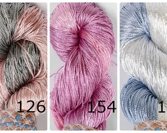 Viscose Silk Yarn, Viscose Yarn, Sleek Yarn, Summer Spring Yarn, Lace Yarn, Crochet Knitting Yarn, Elegant Yarn, Evening Wear, Glitter Yarn