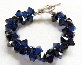 Indigo Blue Swarovski Chunky Bracelet, Swarovski Jewelry, Crystal Bracelet, Mothers Day, Graduate Gift, Beaded Bracelet, Birthday Gift