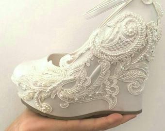 ivory wedges wedding wedge wedges bridal wedgesbridal shoes bridal platform