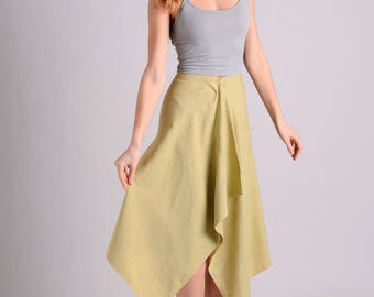 Minimalist yellow green midi skirt LIMITED EDITION
