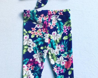 Handmade Blue Floral Leggings Set