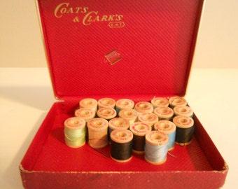 Coats & Clark's 20 Small Wood Spools of Thread