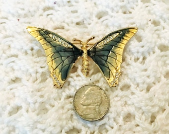 Vintage Gold Tone Butterfly Brooch With Emerald Green Enamel and Clear Rhinestones