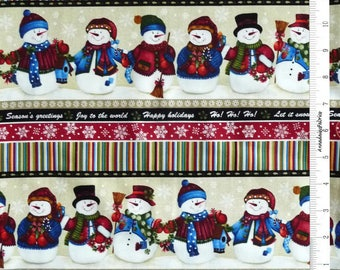 Christmas Snowman Border Fabric, Benartex 3482 Winter Wishes Michele D'Amore, Snowman Quilt Fabric, Cotton