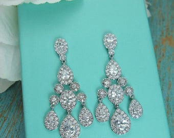 SALE Ends Sunday Chandelier Wedding Earrings, cubic zirconia earrings, Cubic Zirconia, bridal jewelry, wedding earrings, bridal earrings, ea