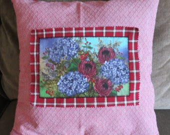 Appliqued Throw Pillow with red and white plaid coordinating fabric with original digital floral painting applied to front.