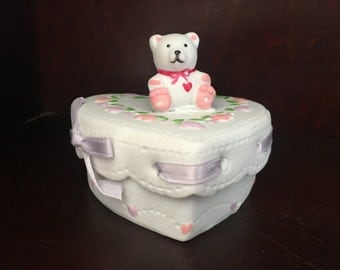 Bisque and Bows Heart Shaped Porcelain Trinket Box w Bear on Lid, Bear Trinket Box, Bisque Trinket Box,  Box w Bear, Pink Ribbon, 1988