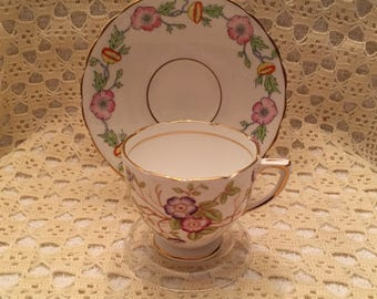Rosina Bone China Cup and Saucer, Floral  Cup and Saucer, Made in England
