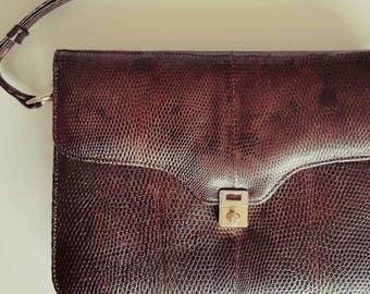 FINAL CLEARANCE Vintage Late 1960s Dark Brown Lizard Skin Leather Handbag