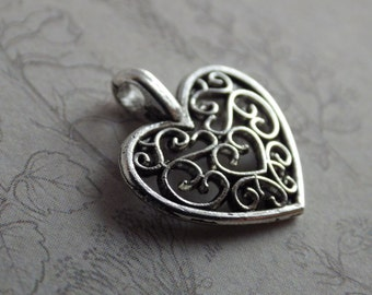 4 /10 x Filigree Heart Charms, Silver Love Charms (15x12mm), Pendants, Jewelry Making Supplies, Card Making, UK Seller