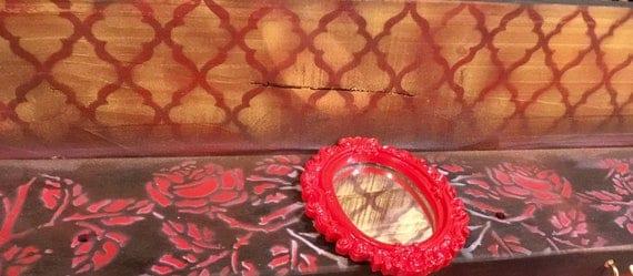floating shelves makeup mirror wall hanging geometric shelf vanity/ pallet wood pop art bedroom decor 4 gold hooks roses
