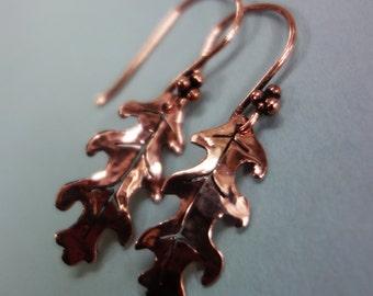 Oak leaf copper earrings, copper leaf earrings, oak leaf earrings, valentines present, mother's day present, birthday present