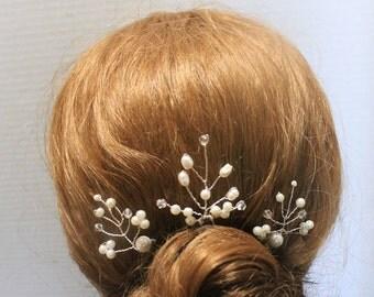 Wedding Bridal Pins Bridal Pins Wedding Hair Pins Hair Accessories Wedding Accessories Mother of Pearls Pins Silver Hair Pins
