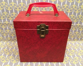 "Red Vinyl Record storage box 7"" 45RPM case tote Platter Pak 700 series"