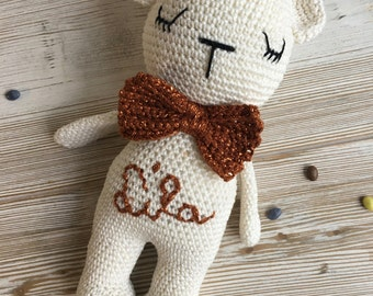 personalized teddy bear, made to ORDER,crochet teddy,crochet toy,chubby teddy,teddy bear crochet,gift teddy,newborn birth gift,bear soft toy