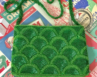 Green Beaded Evening Bag, Made in Hong Kong