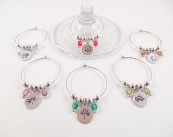 Nature Wine Charms - Set of 6 Nature Themed Metal Stamped Czech Beaded Wine Charms
