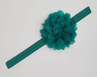 Hunter Green Flower Headband, green headband, Baby headband, toddler headband