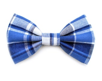 The Blake Bow Tie — Dog Bowtie, Made in Brooklyn, Bowtied, Madras Plaid, Blue, Navy, Summer, Preppy