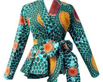 Diola African Print Blazer (Aqua Circles)
