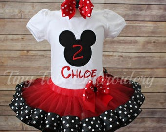 Mickey Mouse Birthday Outfit ~ Mickey Tutu Outfit ~ Includes Top, Ribbon Trim Tutu and Hairbow ~ Customize In Any Colors of Your Choice!