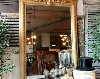 Vintage French gilt overmantle mirror