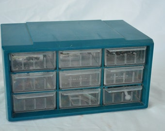 Small 9 Drawer Aqua Blue Plastic Hobby Organizer with Drawer Dividers * Craft Organizer * Little Things Organization Box * Lightweight