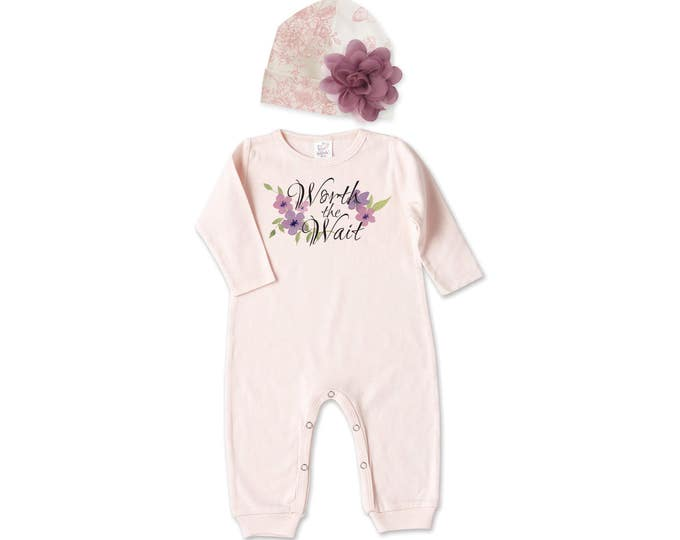 Newborn Girl Worth the Wait Coming Home Outfit, Newborn Girl Outfit, Baby Girl Take Home Romper, Baby Pink Outfit, Baby Tesababe RC81BH63BG